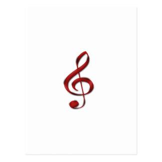 Símbolo de música vermelho de Gclef Cartão Postal