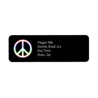 Símbolo de paz bonito etiqueta endereço de retorno