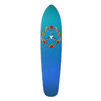 Símbolo de paz com estilo do pop art das flores e shape de skate 18,7cm