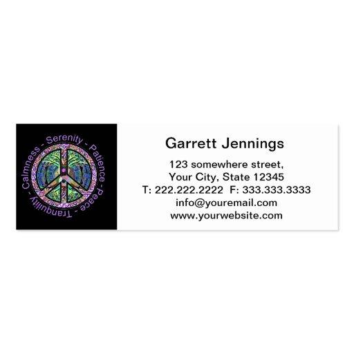 Símbolo de paz com paz, harmonia, equilíbrio modelo de cartões de visita