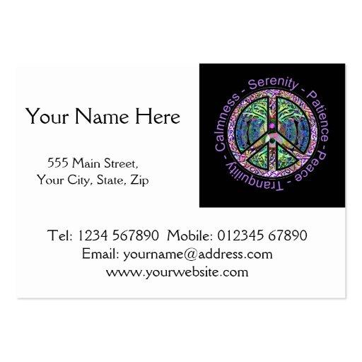 Símbolo de paz com paz, harmonia, equilíbrio cartao de visita