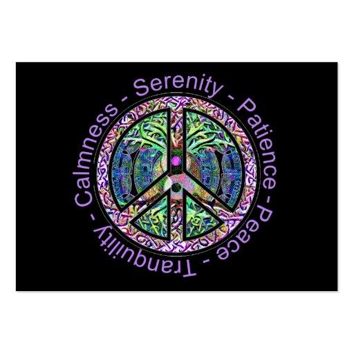 Símbolo de paz com paz, harmonia, equilíbrio cartoes de visita