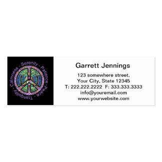 Símbolo de paz com paz, harmonia, equilíbrio cartão de visita skinny