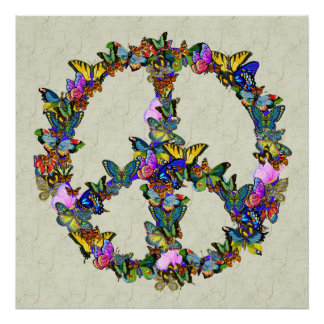 Símbolo de paz da borboleta impressão
