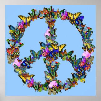 Símbolo de paz da borboleta poster