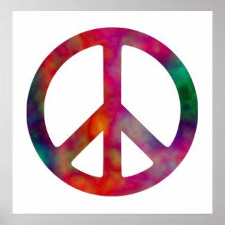 Símbolo de paz da tintura do laço pôsteres