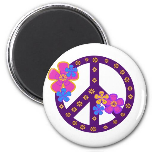 Símbolo de paz das flores imãs