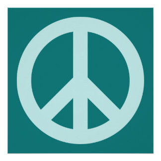 Símbolo de paz do Aqua e da cerceta Impressão