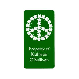 Símbolo de paz do trevo etiqueta de endereço