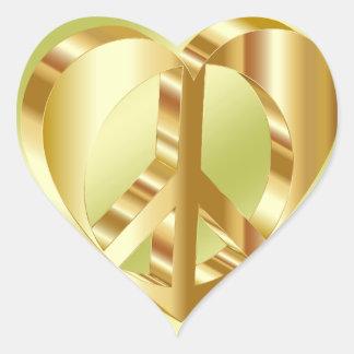 Símbolo de paz dourado adesivo coração