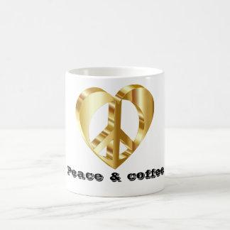 Símbolo de paz dourado caneca de café