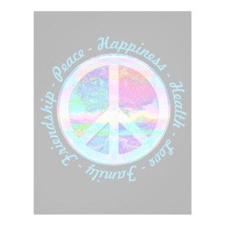 Símbolo de paz em cores do arco-íris com a árvore flyer 21.59 x 27.94cm