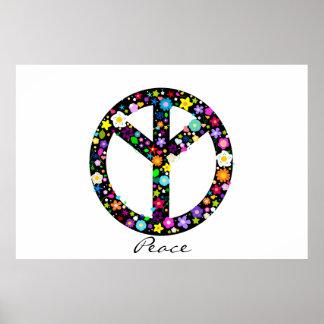 Símbolo de paz floral invertido poster