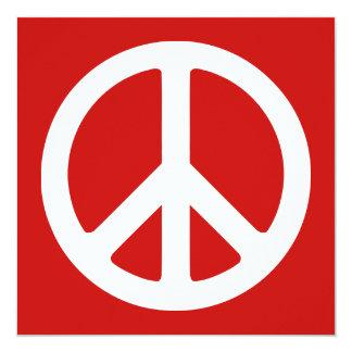 Símbolo de paz vermelho e branco convite