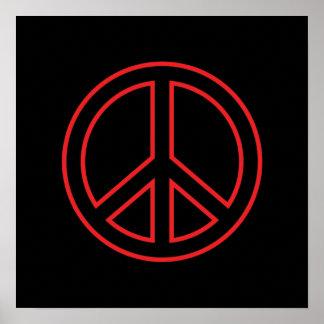 Símbolo de paz vermelho & preto poster