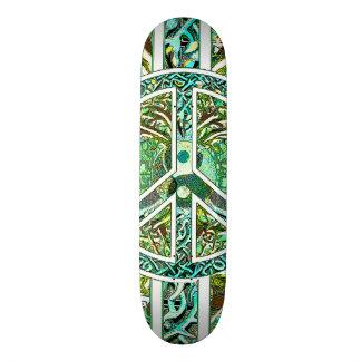 Símbolo de paz, Yin Yang, árvore de vida no verde Shape De Skate 21,6cm