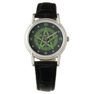 Símbolo de Pentgram do céltico de Wiccan Relógio De Pulso