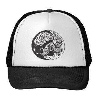 símbolo de yang do yin do dragão e do tigre boné