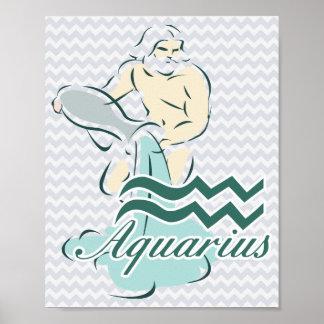 Símbolo do Aquário do sinal do zodíaco Poster