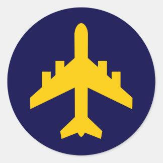 Símbolo do avião no círculo adesivo em formato redondo