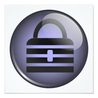 Símbolo do botão de Keypass Convite Quadrado 13.35 X 13.35cm