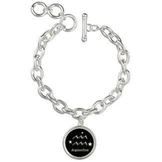 Símbolo do cromo do Aquário Braceletes Com Charm
