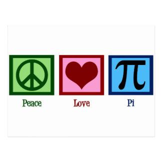Símbolo do Pi do coração do sinal de paz Cartão Postal
