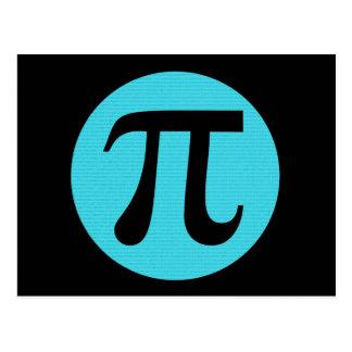 Símbolo do Pi do geek da matemática, azul no preto Cartão Postal