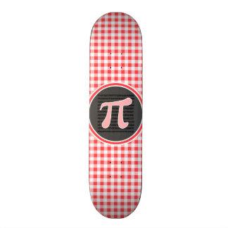 Símbolo do Pi; Guingão vermelho e branco Shape De Skate 20cm