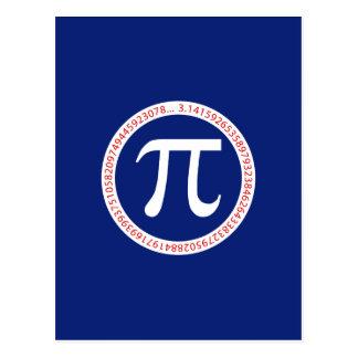 Símbolo do Pi no círculo em azuis marinhos Cartão Postal