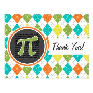 Símbolo do Pi; Teste padrão colorido de Argyle Cartão Postal