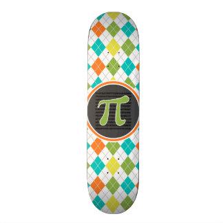 Símbolo do Pi; Teste padrão colorido de Argyle Shape De Skate 18,4cm