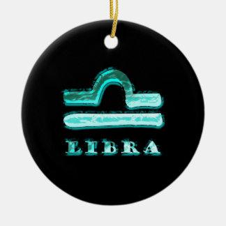 Símbolo do zodíaco do Libra Ornamento De Cerâmica Redondo