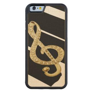 Símbolo dos funcionarios da música capa de carvalho bumper para iPhone 6