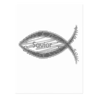 Símbolo dos peixes do salvador de Jesus Cartão Postal