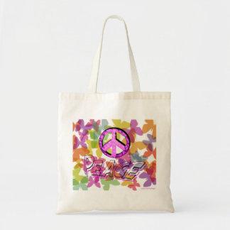 Símbolo e borboletas da palavra da paz sacola tote budget
