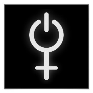 Símbolo eletrônico do poder da menina para o sinal poster