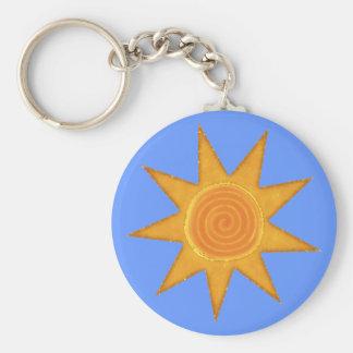 Símbolo espiral amarelo de Sun de nove raios Chaveiro