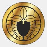 Símbolo japonês da crista da família (KAMON) Adesivos Redondos