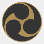 Símbolo japonês da crista KAMON da família Adesivos Em Formato Redondos