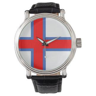 símbolo longo da bandeira de país de Faroe Island Relógio De Pulso