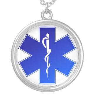 Símbolo médico do EMS Colar Com Pendente Redondo
