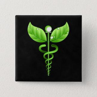 Símbolo médico verde da medicina alternativa do bóton quadrado 5.08cm