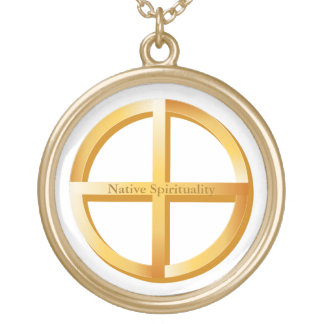 Símbolo nativo da espiritualidade colar com pendente redondo
