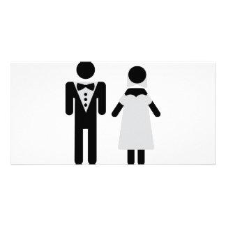 símbolo nupcial do casal cartão com foto