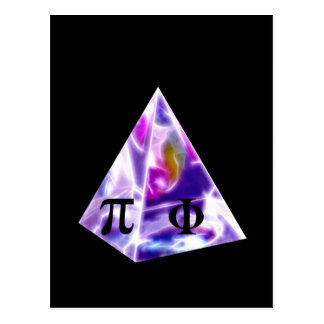 Símbolo Pi da pirâmide e a ração dourada Cartão Postal