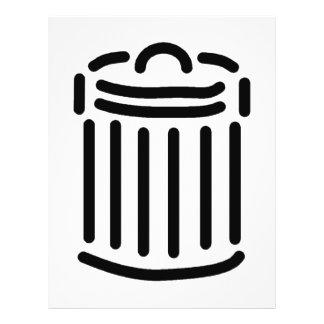 Símbolo preto do balde do lixo modelo de panfletos