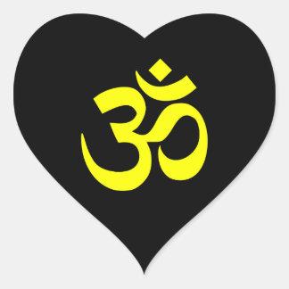 Símbolo preto e amarelo do OM Adesivo Coração