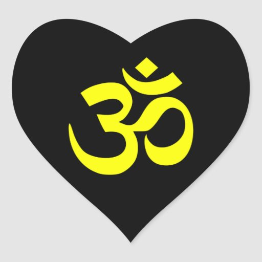 Símbolo preto e amarelo do OM Adesivo Em Forma De Coração