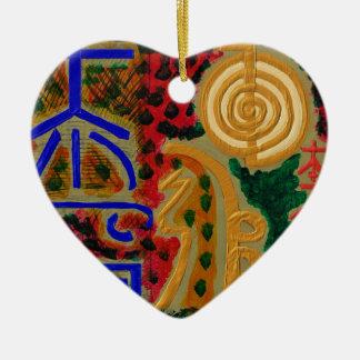 Símbolo principal de ReikiHealingArt Ornamento De Cerâmica Coração